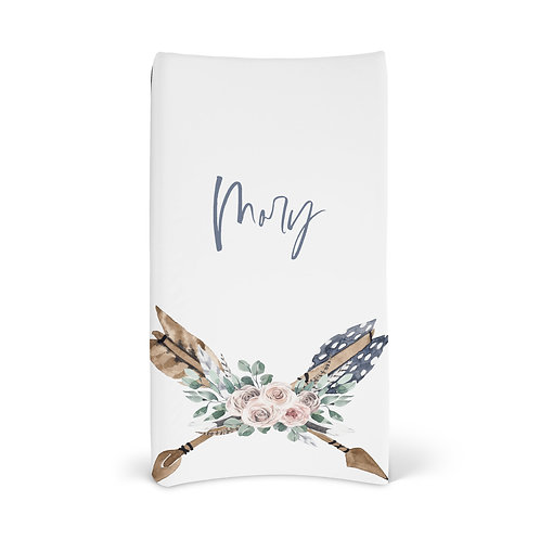 Personalized Changing Pad - Boho arrow flowers