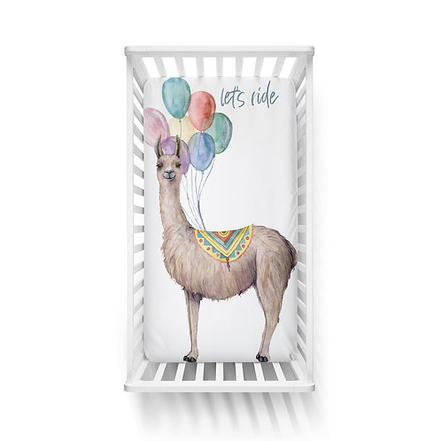 Personalized crib fitted sheet - llama balloons