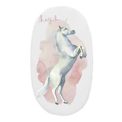 Personalized oval fitted sheet - enchanted unicorn