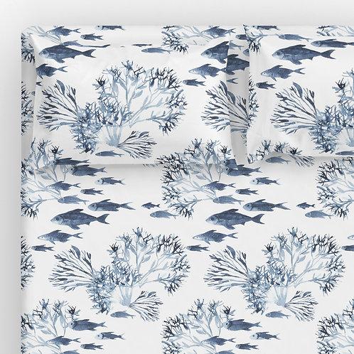 Italian cotton Sheet Set - Neptune coral reef