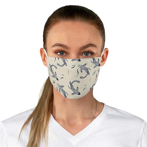 Fabric Face Mask // Koi fish Japanese Pattern Indigo