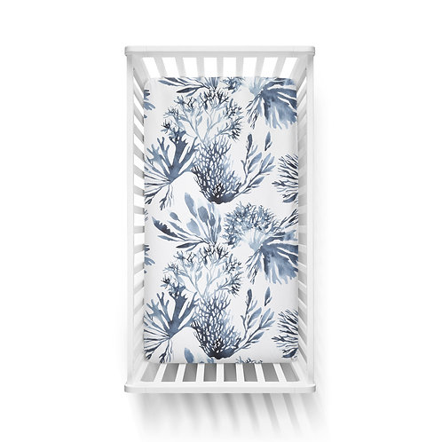 Personalized crib fitted sheet - Neptune seaweed