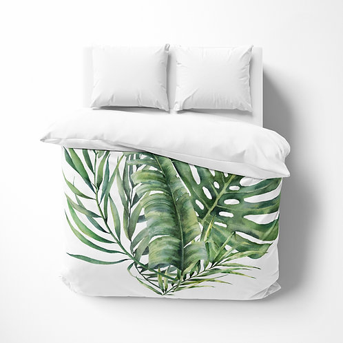 Personalized comforter - Flamingo Giant leaves