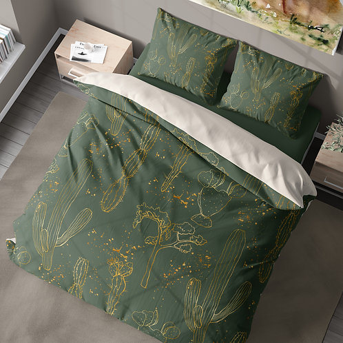 Personalized duvet cover - Gold cacti