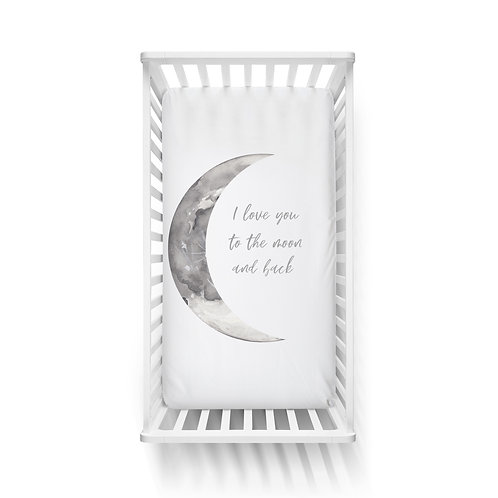 Personalized crib fitted sheet - I love U to the moon and back