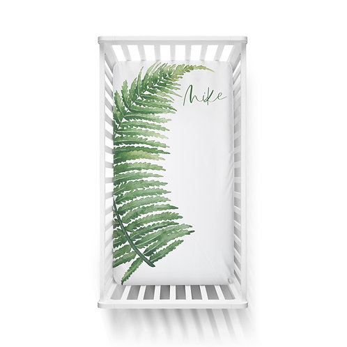 Personalized crib fitted sheet - dino fern
