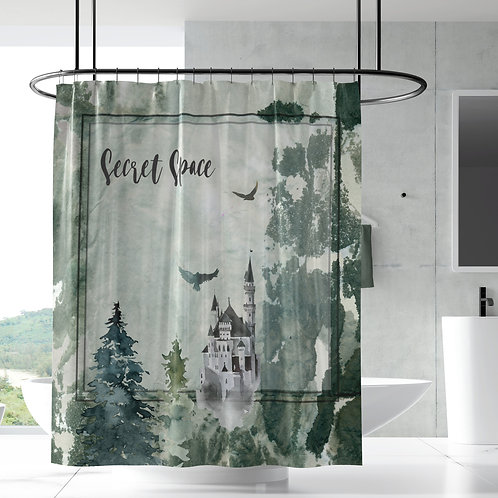 Shower Curtain - Enchanted forest castle