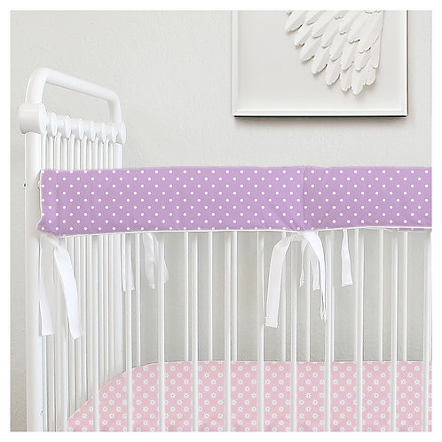 Crib teething rail guard - polka dots