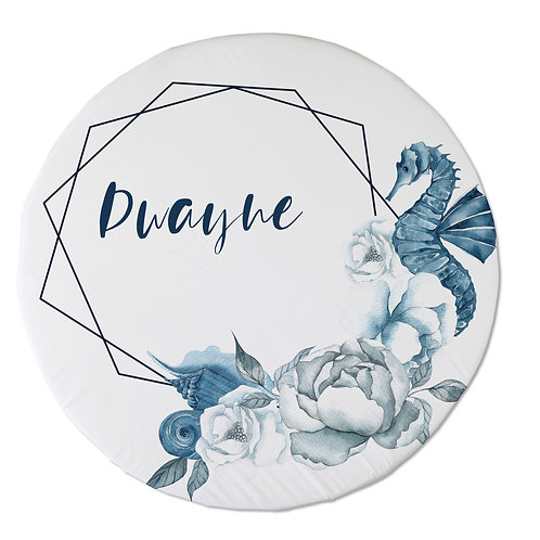 Personalized oval fitted sheet - Seahorse frame
