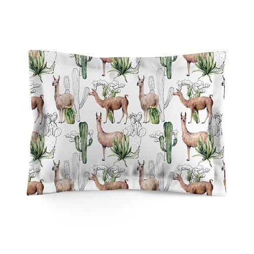 Flanged pillowcase - Cacti Llama