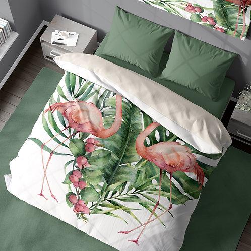 Personalized duvet cover - Flamingo Heart