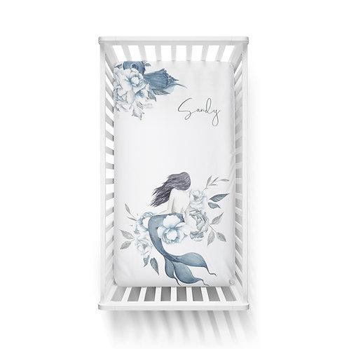 DYO - Custom Standard crib fitted sheet - Mermaid