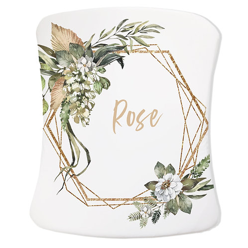 Personalized Stokke care changing pad cover - Safari Gold wreath