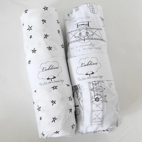 Crib fitted sheet - black & white