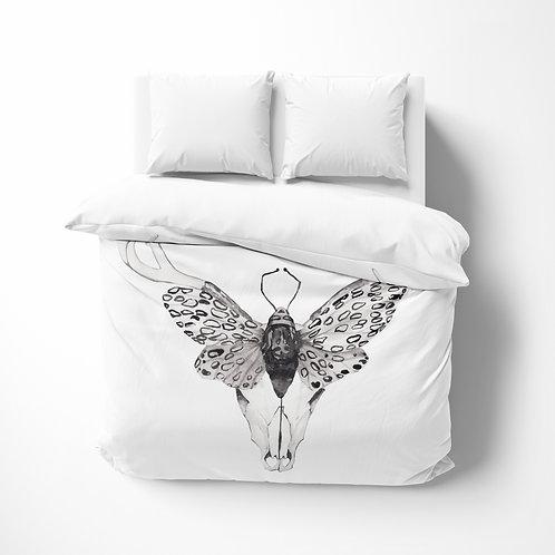 Personalized comforter - Boho moth skull