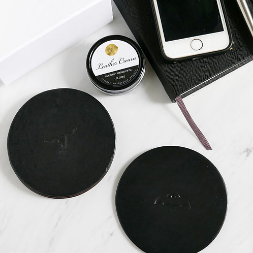 Mindful Coasters Leather - Black