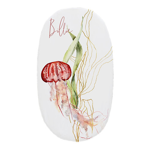 Personalized oval fitted sheet - jellyfish