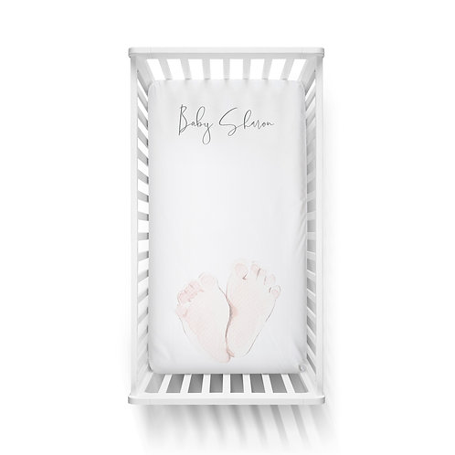 Personalized crib fitted sheet - Baby's feet
