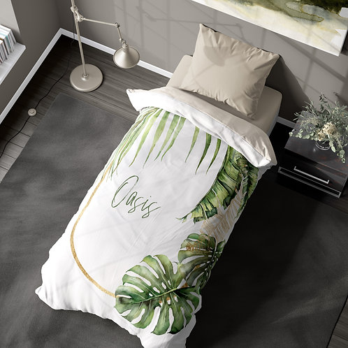 Personalized duvet cover - Tropical leaves frame
