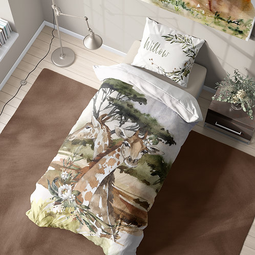 Personalized duvet cover - Safari Giraffe