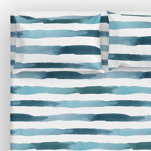 Italian cotton Sheet Set - Ocean watercolor stripes