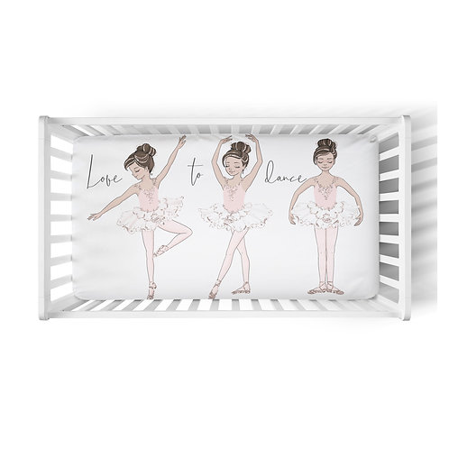 Personalized crib fitted sheet - love to dance