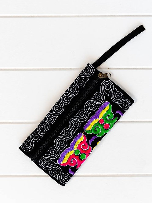 Embroidered Clutch/Coin Purse with wrist strap
