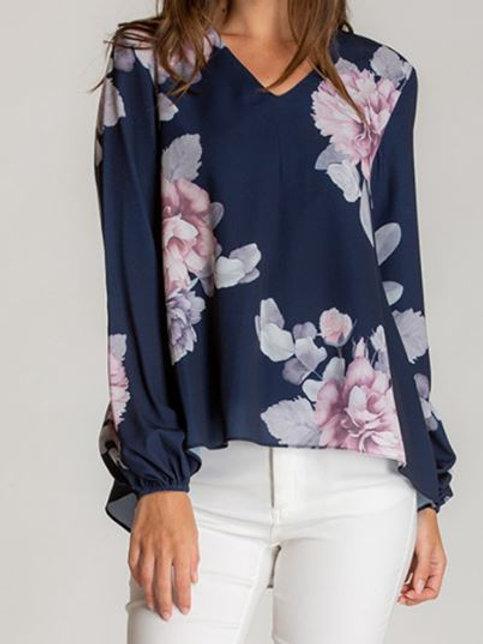 Floral V-Neckline Blouse