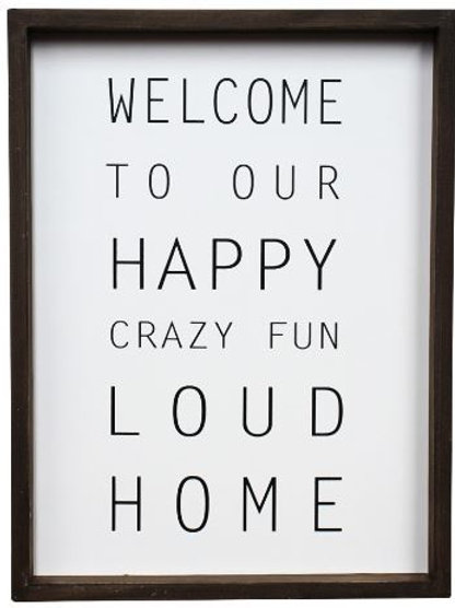 "Welcome ""happy home"" sign"