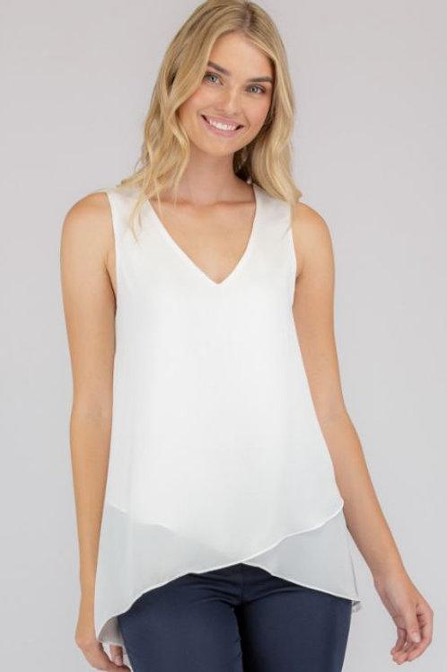 V-Neckline Sleeveless Top With Asymmetrical Hem