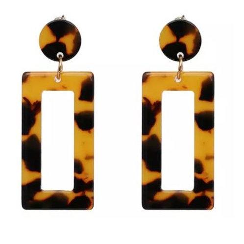 Tortoiseshell Earrings - Rectangular Dangles