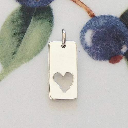 SILVER RECTANGLE HEART CHARM
