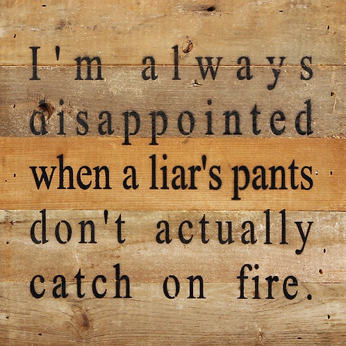 I'M ALWAYS DISAPPOINTED WHEN LIAR'S PANTS DON'T ACTUALLY CATCH ON FIRE.