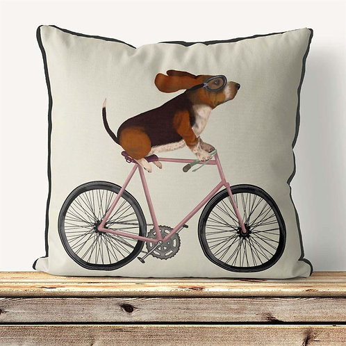 BASSETT HOUND ON A BICYCLE