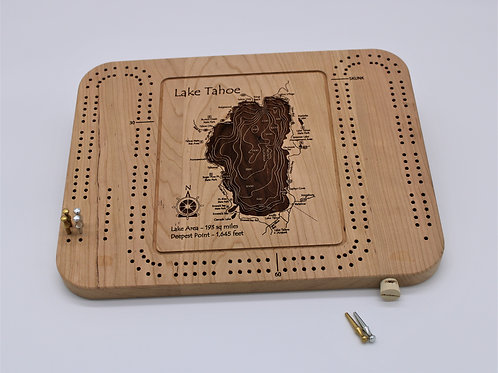 3D LASER CUT CRIBBAGE BOARD - LAKE TAHOE