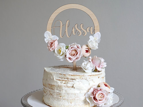 Cake Topper / Rustic Flowers