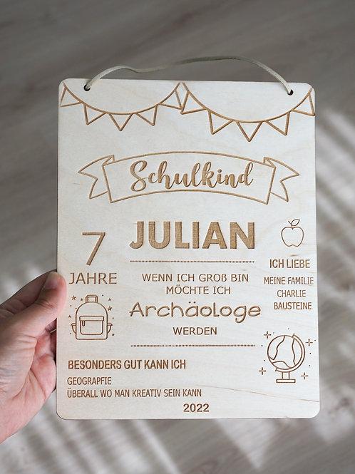 Holzschild/ Schulkind