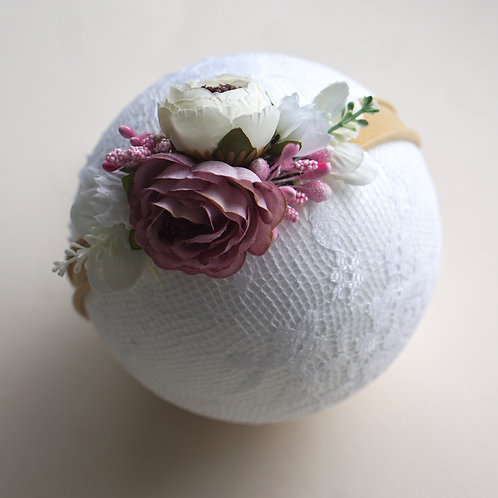 Blumen Haarband/Mauve Floral