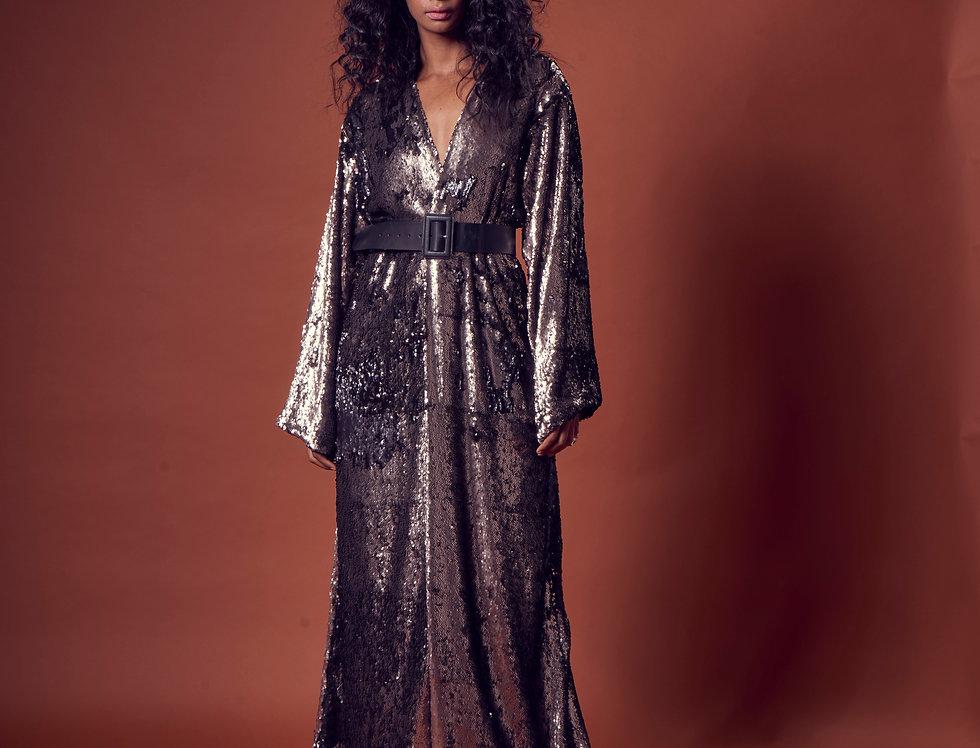 Donna Gunmetal Sequin Abaya Wrap
