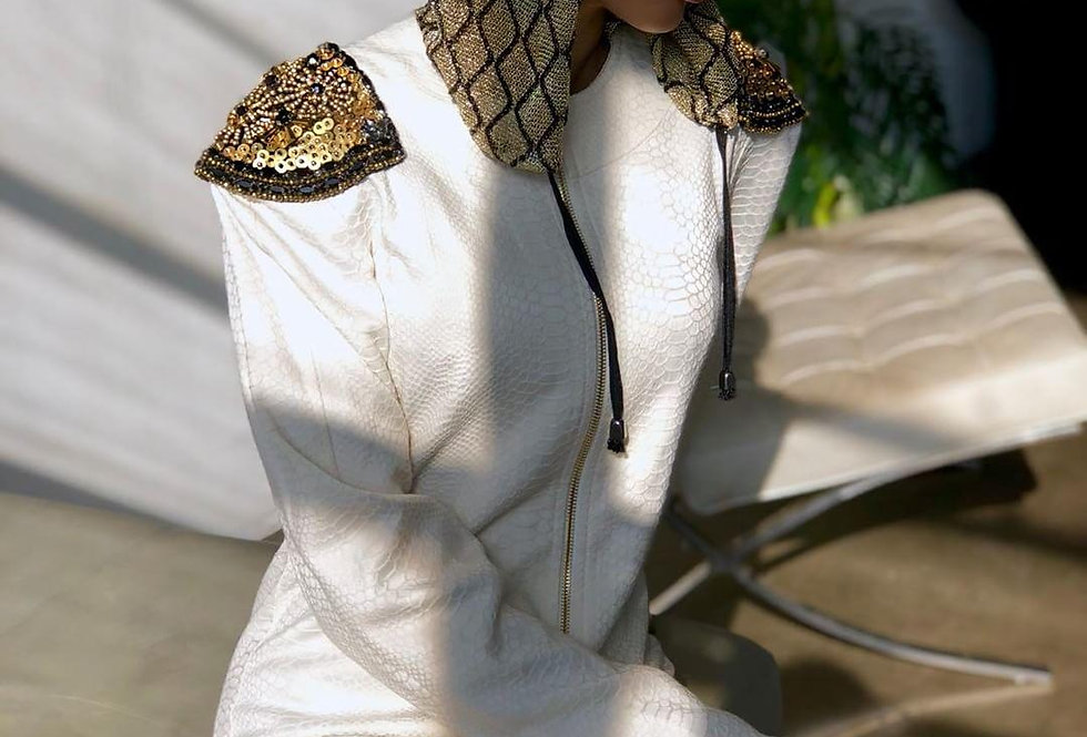 24K CRYSTAL PYTHON HOODIE DRESS