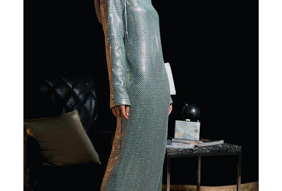 Queen Cobra Sea green Knit hoodie Dress
