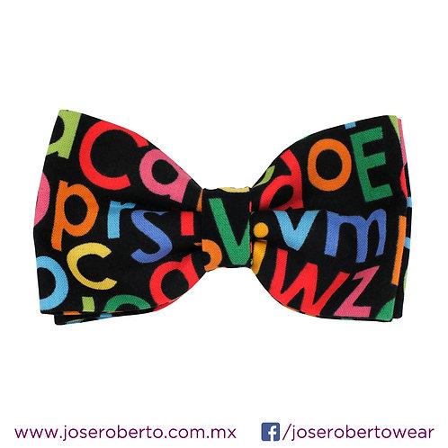 Algodón Negro Estampado Letras Multicolor