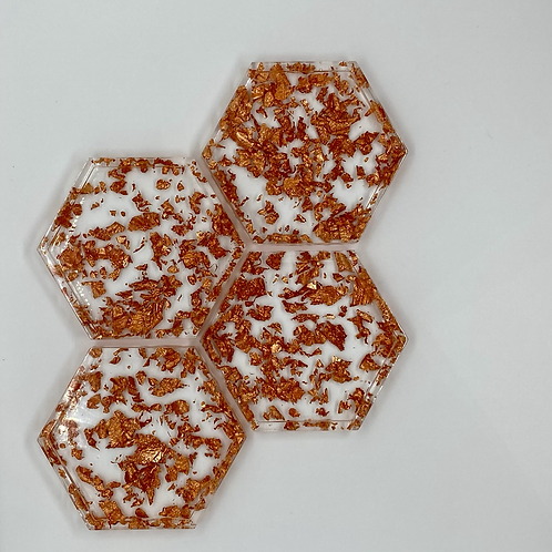 MADE TO ORDER - Hex Foiled Coaster - Rose Gold (Set of 4)