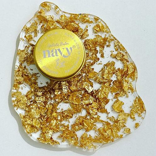 READY MADE - Foiled Agate Coaster (single piece) - Gold