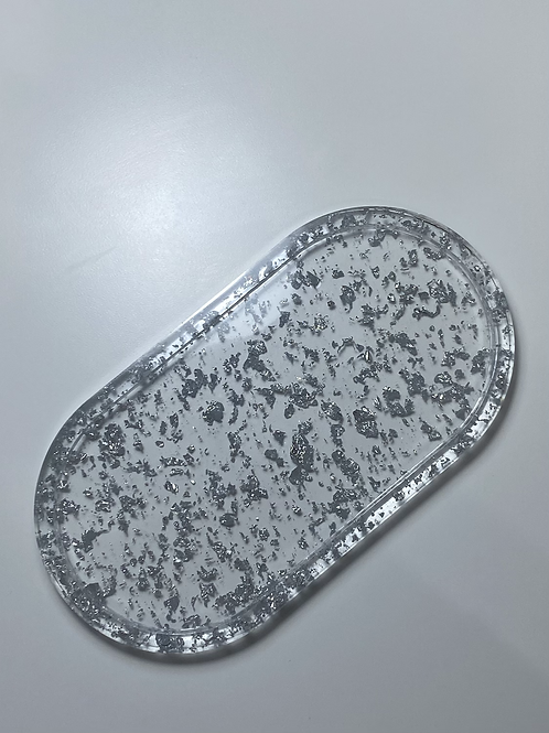 MADE TO ORDER - Long Oval Foiled Tray - Silver
