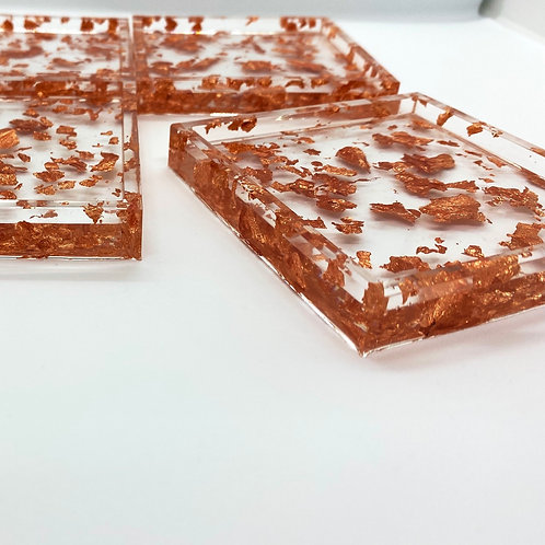 MADE TO ORDER - Square Foiled Coaster - Rose Gold (Set of 4)
