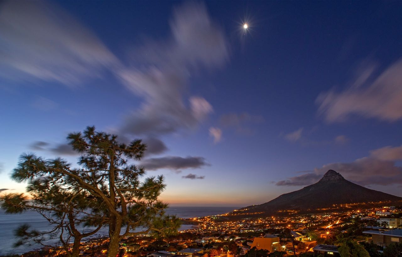 Night view over Camps Bay