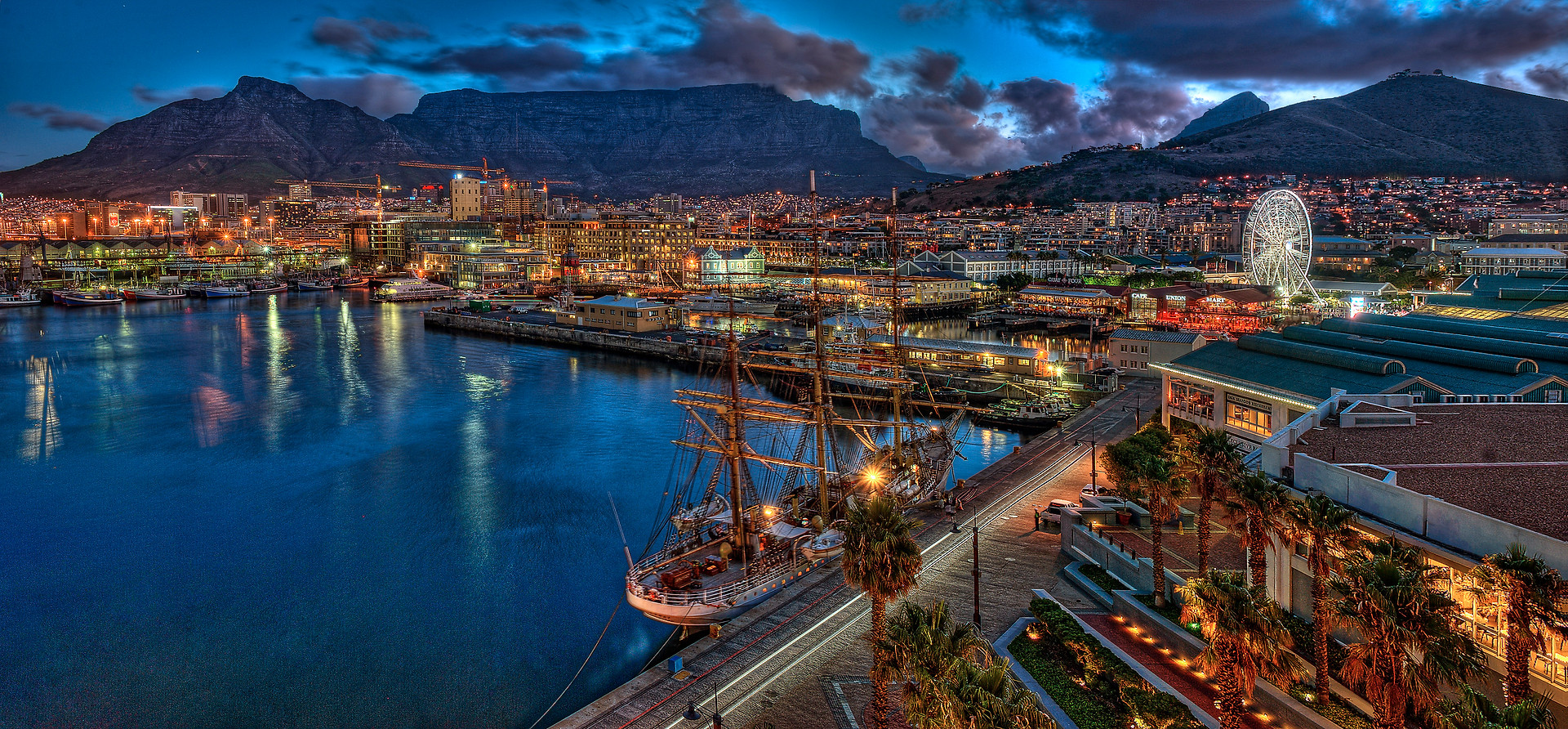 V&A Waterfront at night, overlooking Table Mountain