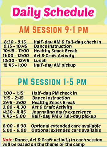 Sample daily schedule of a Studio Dhoom camp day