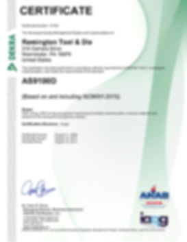 Remington Tool AS9100D Certificate